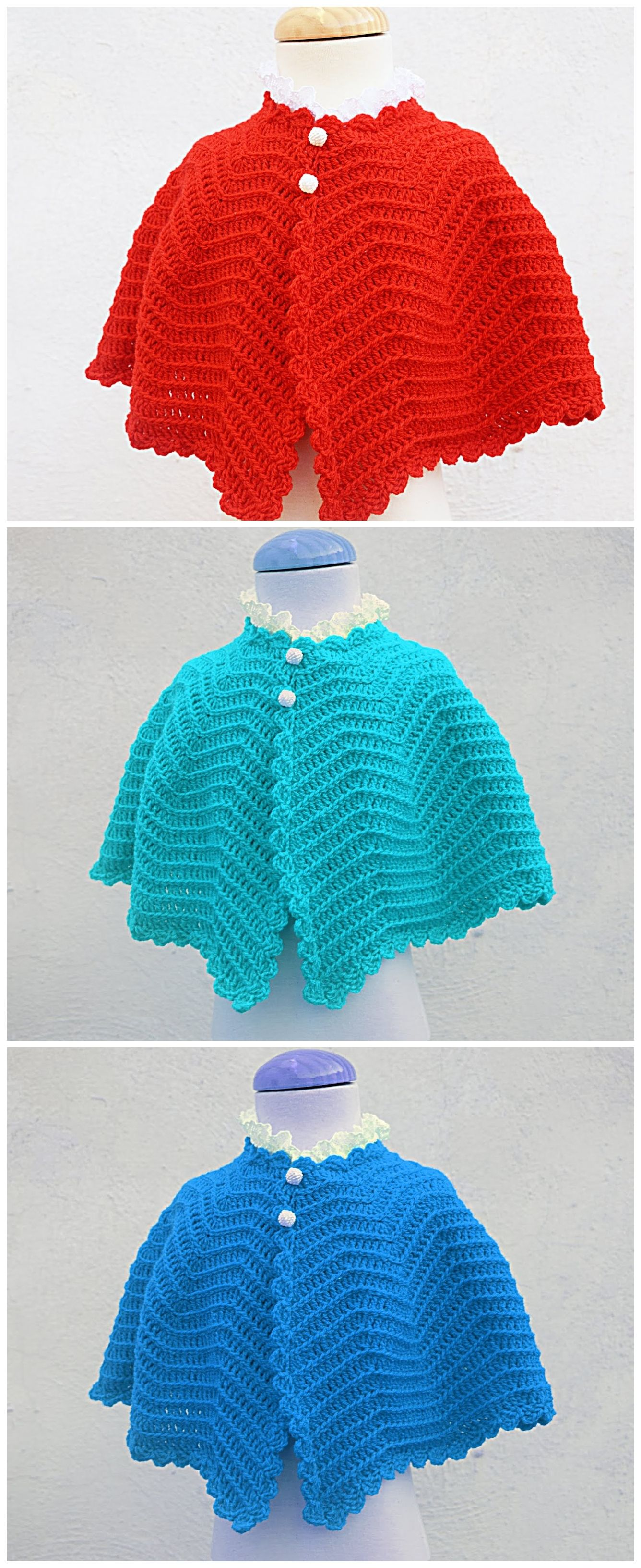 Crochet Baby Poncho For Christmas #babyponcho
