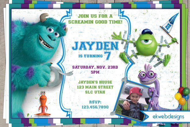 Monsters University Birthday Invitations Monsters Inc Invite