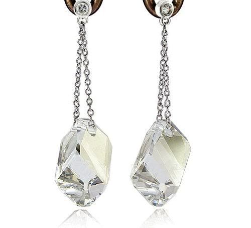 Silver Crystal Long Drop Earrings Used Swarovski Crystals  7cca456f1cc