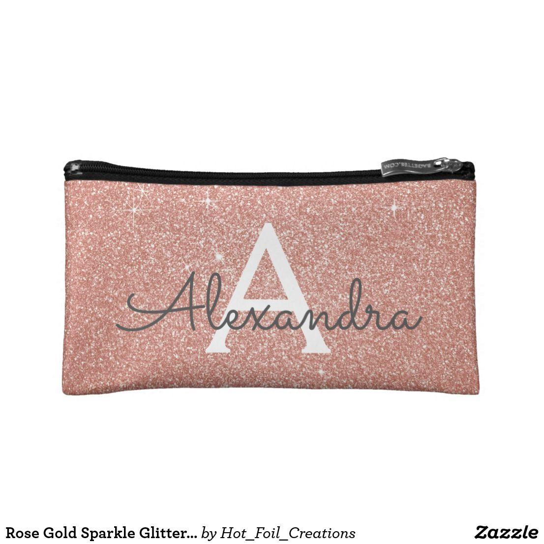 Rose Gold Sparkle Glitter Monogram Name & Initial Cosmetic