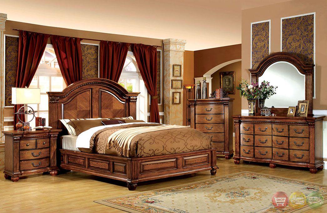 Best Bellagrand Luxurious Antique Tobacco Oak Bedroom Set 400 x 300