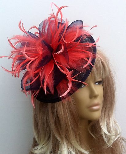 Bespoke Coral Navy Blue Hat Fascinator Mother Of The Bride Gypsy Weddings  Races  e6bda107231