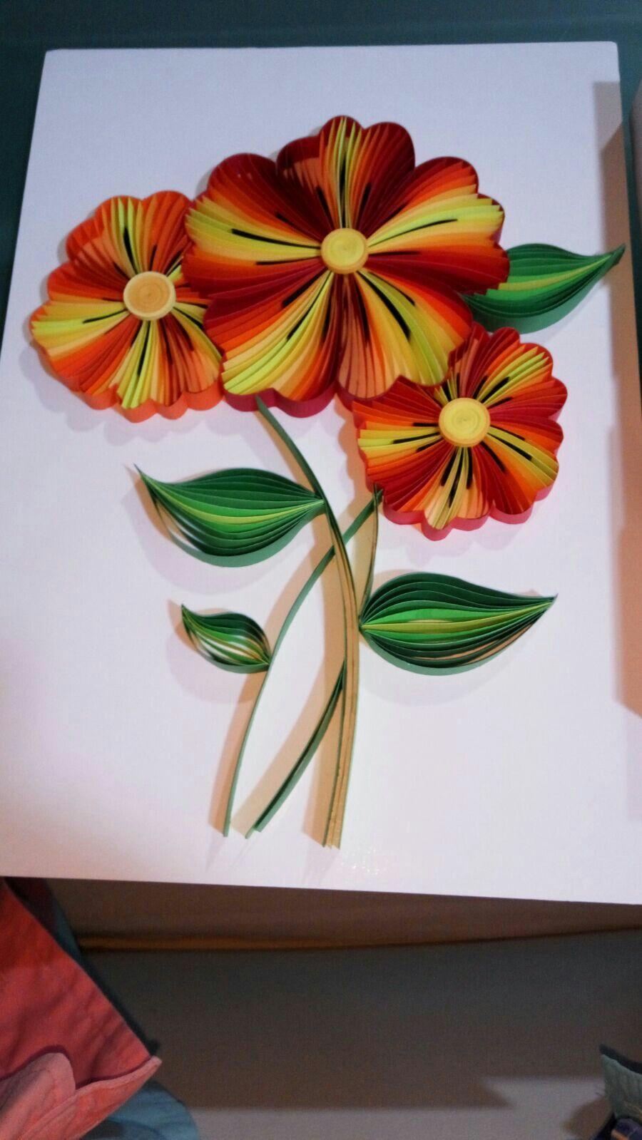 Mi último trabajo (septiembre'16) quilling flowers