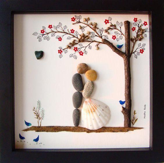 Diy Wedding Gifts For Bride And Groom: Unique WEDDING Gift-Customized Wedding Gift-Pebble Art