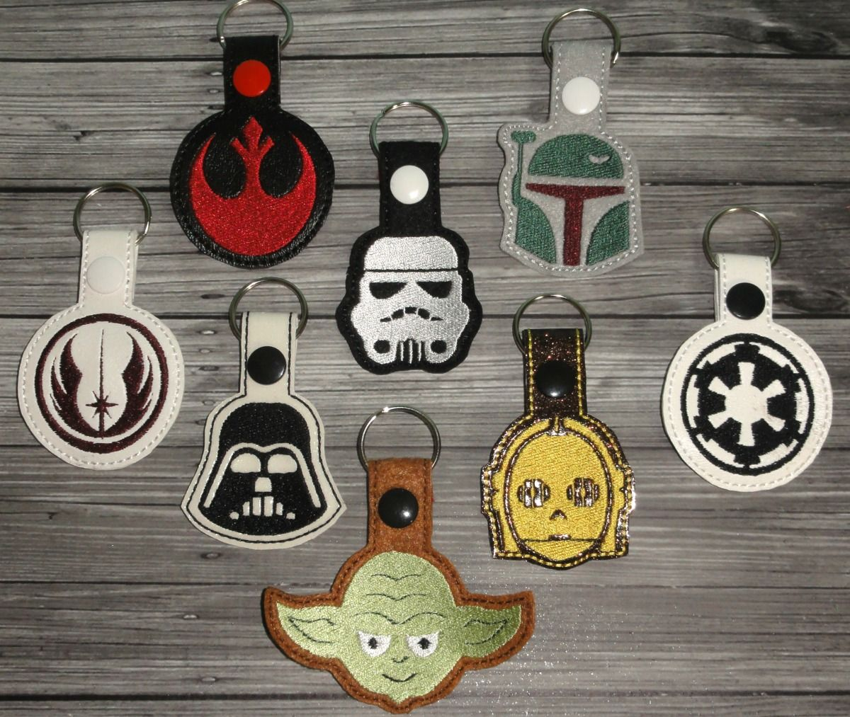 Star wars keychain set ith embroidery design uncle matt