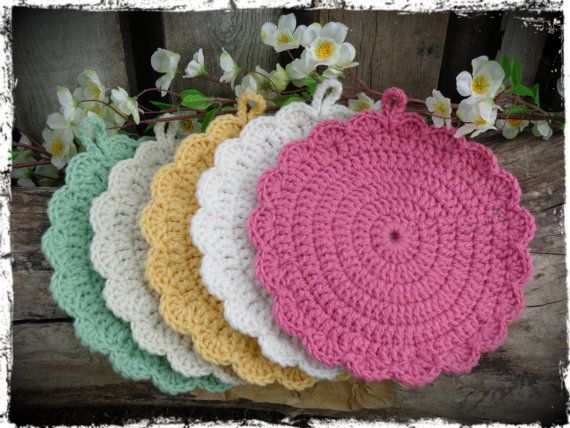 Crochet Pot Holders Hot Pads Country Kitchen by CountryLifeisBest ...