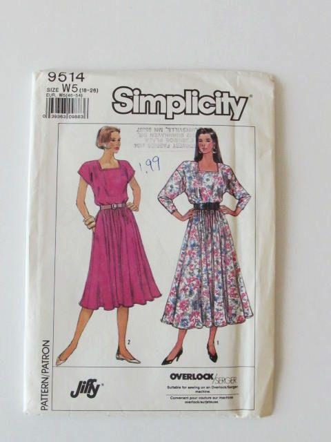 Vintage Womans Pullover Dress Simplicity 9517 Plus Size Uncut