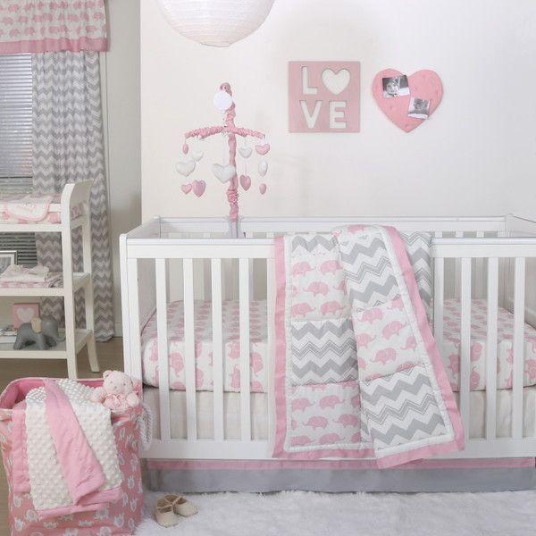 Ellie Pretty Patch Crib Starter Set In Pink Grey Elephant Crib
