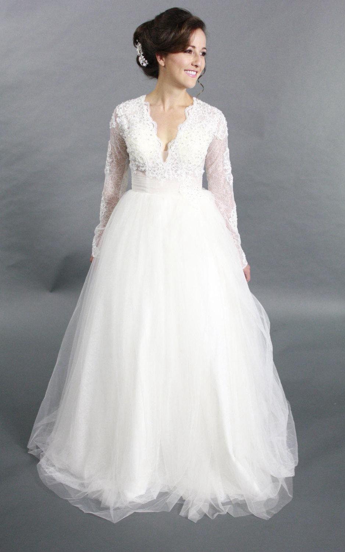 Vneck long sleeve tulle aline wedding dress with beading wedding