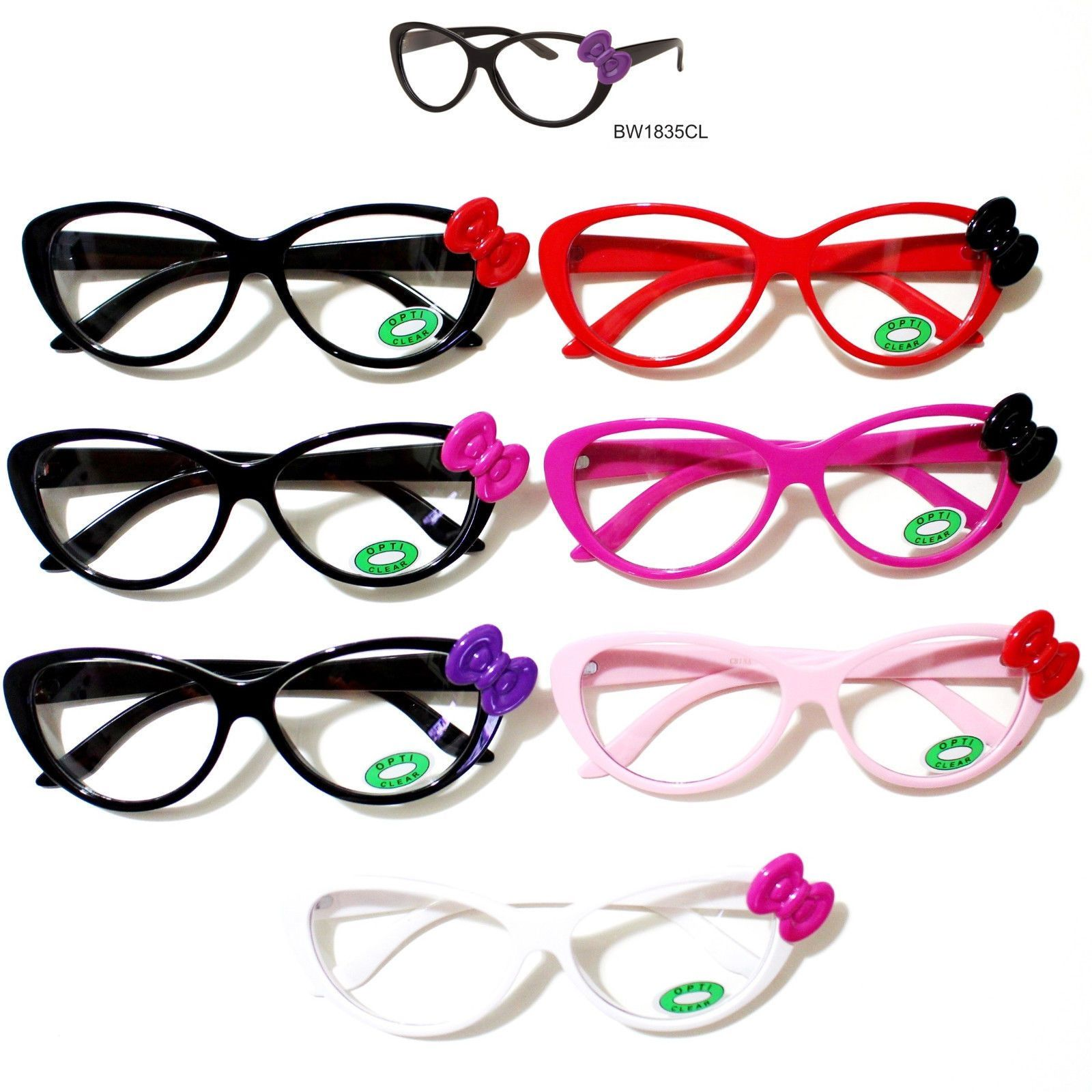 724b3496229 Hello Kitty Bowknot Round Glasses Frame W Opti Clear Lens Spring Temple  Frame