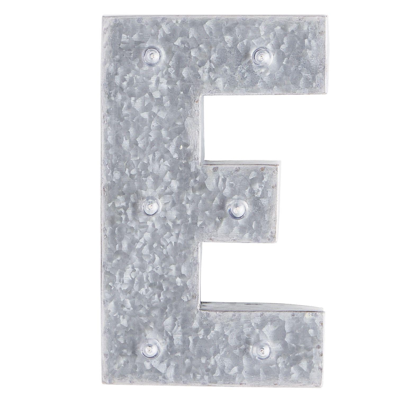 Galvanized Monogram Letters Led Galvanized Metal Monogram Letter  E Gray  Metals Letters