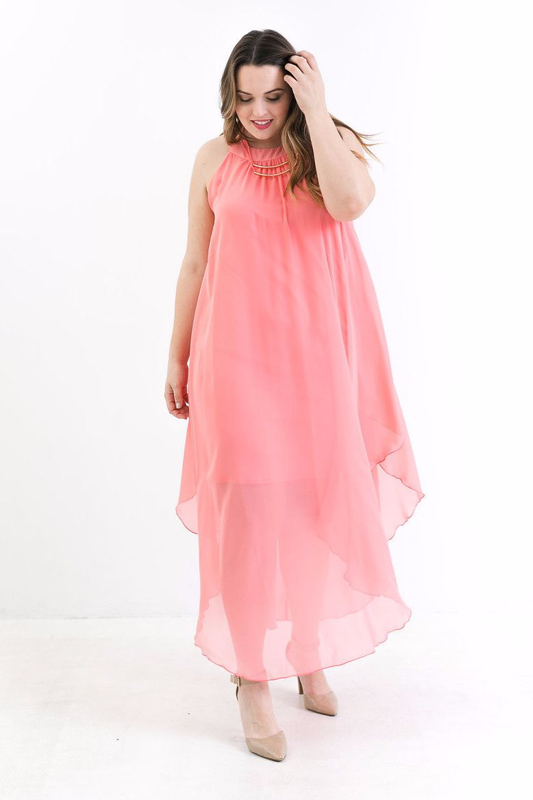 Plus Size Carmel Coral Maxi Dress – Bailey Blue | Va Va BOOOOM ...