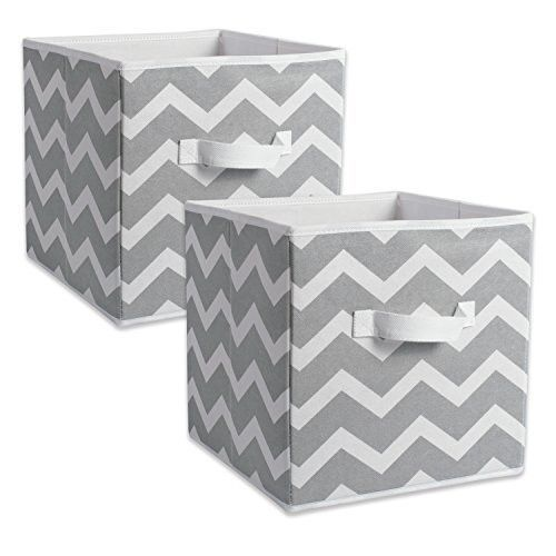 Dii Foldable Fabric Storage Containers For Nurseries Offices Closets Home Decor Cube Organizers Everyday Storage Needs Large 11 X 11 X 11 Chevron Gr Fabric Storage Bins Fabric Storage Cubes Fabric Storage