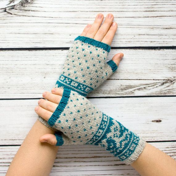Fair Isle Fingerless Gloves Teal&White Fingerless Mittens ...