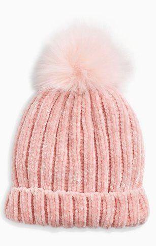 21643c0c17e Bonnet avec pompon en fourrure synthétique fille rose pâle