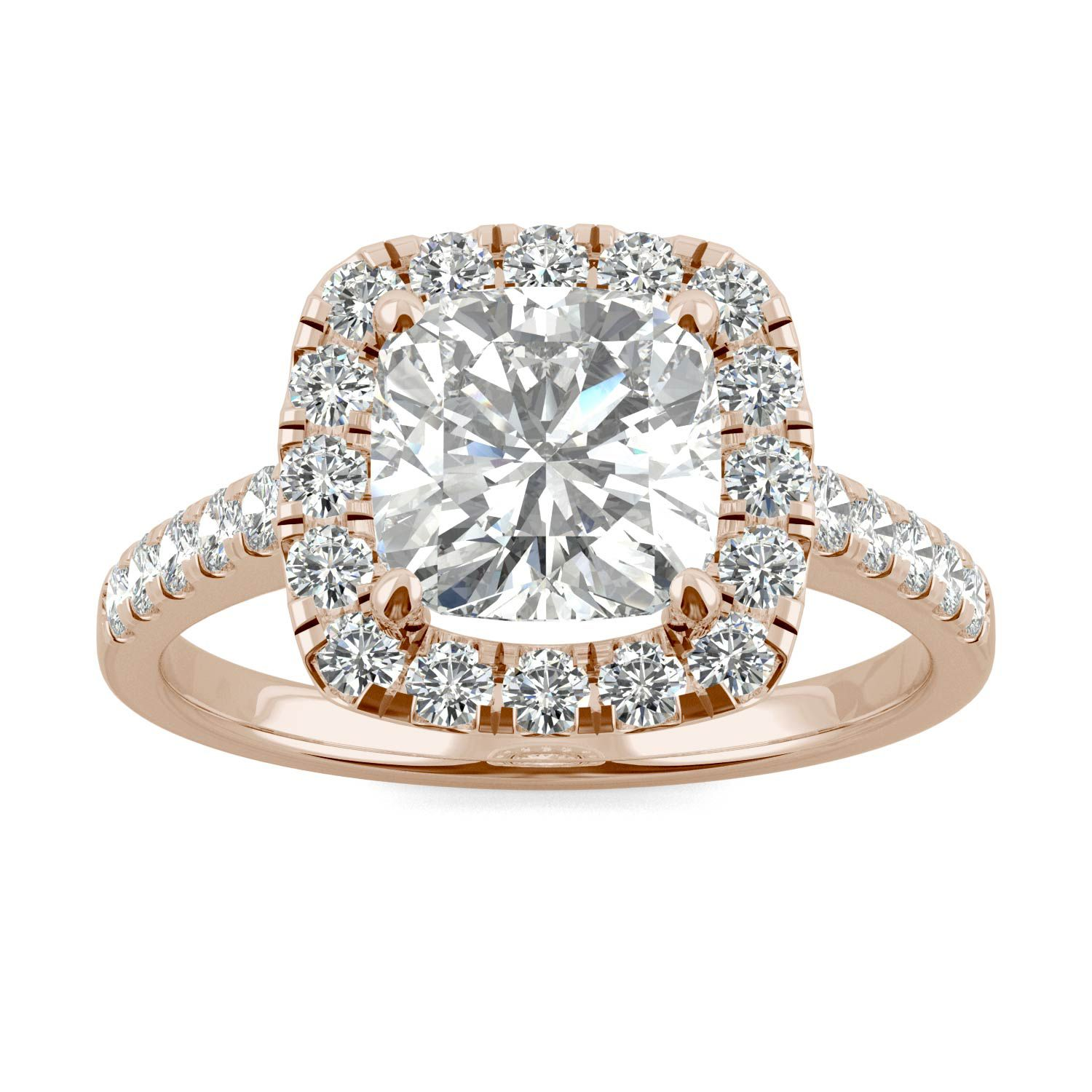 Halo Cushion Colorless Moissanite Engagement Ring 2.65CTW in 14K Rose Gold #cushionengagementring