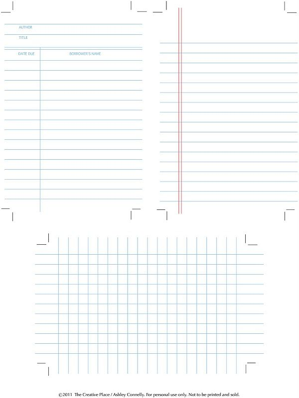 DIY  Printable Library, Graph and Notes Cards Printables - library card template