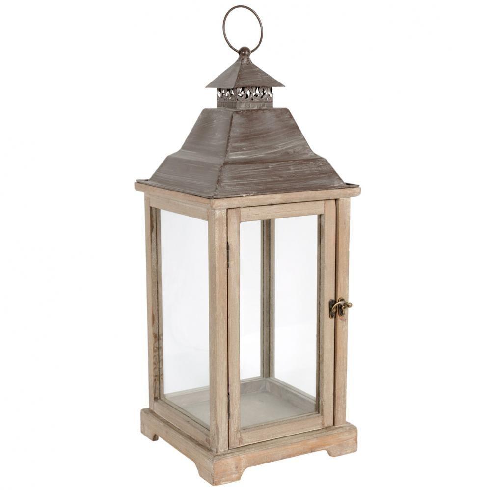 Lanterne h 61 cm lanternes en bois lanterne et en bois for Lanterne deco exterieur
