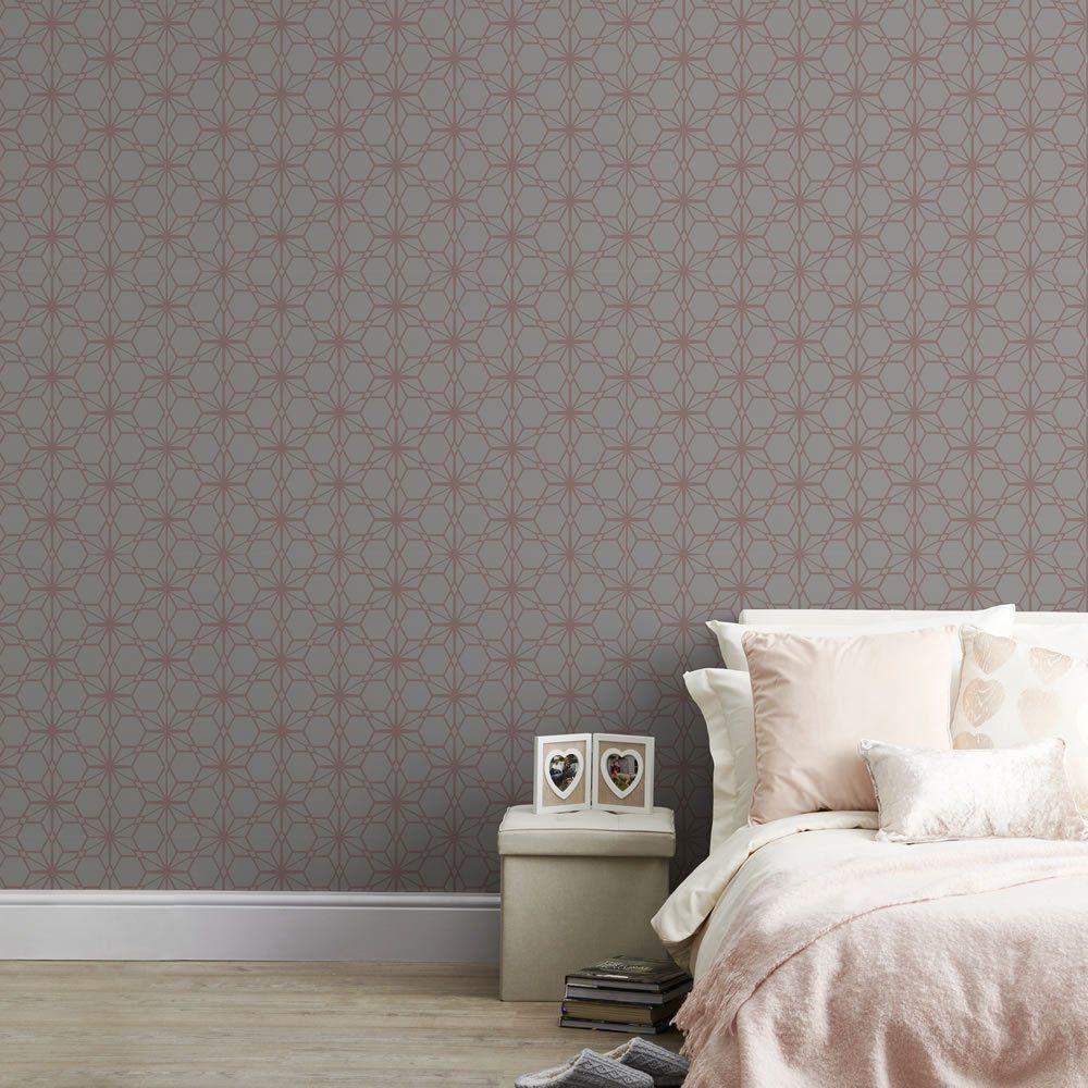 Wilko Rose Gold Wallpaper Gold Wallpaper Finished Living Room