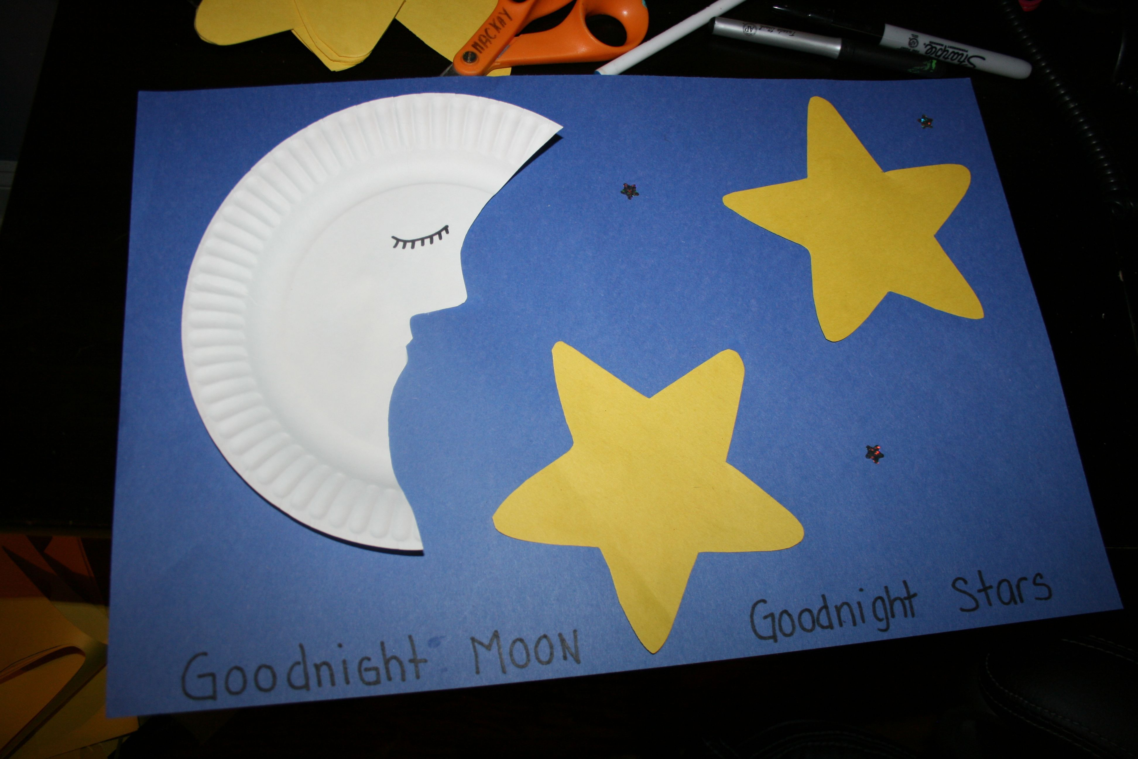 Moon and stars craft for this craft the children glued on for Moon and stars crafts