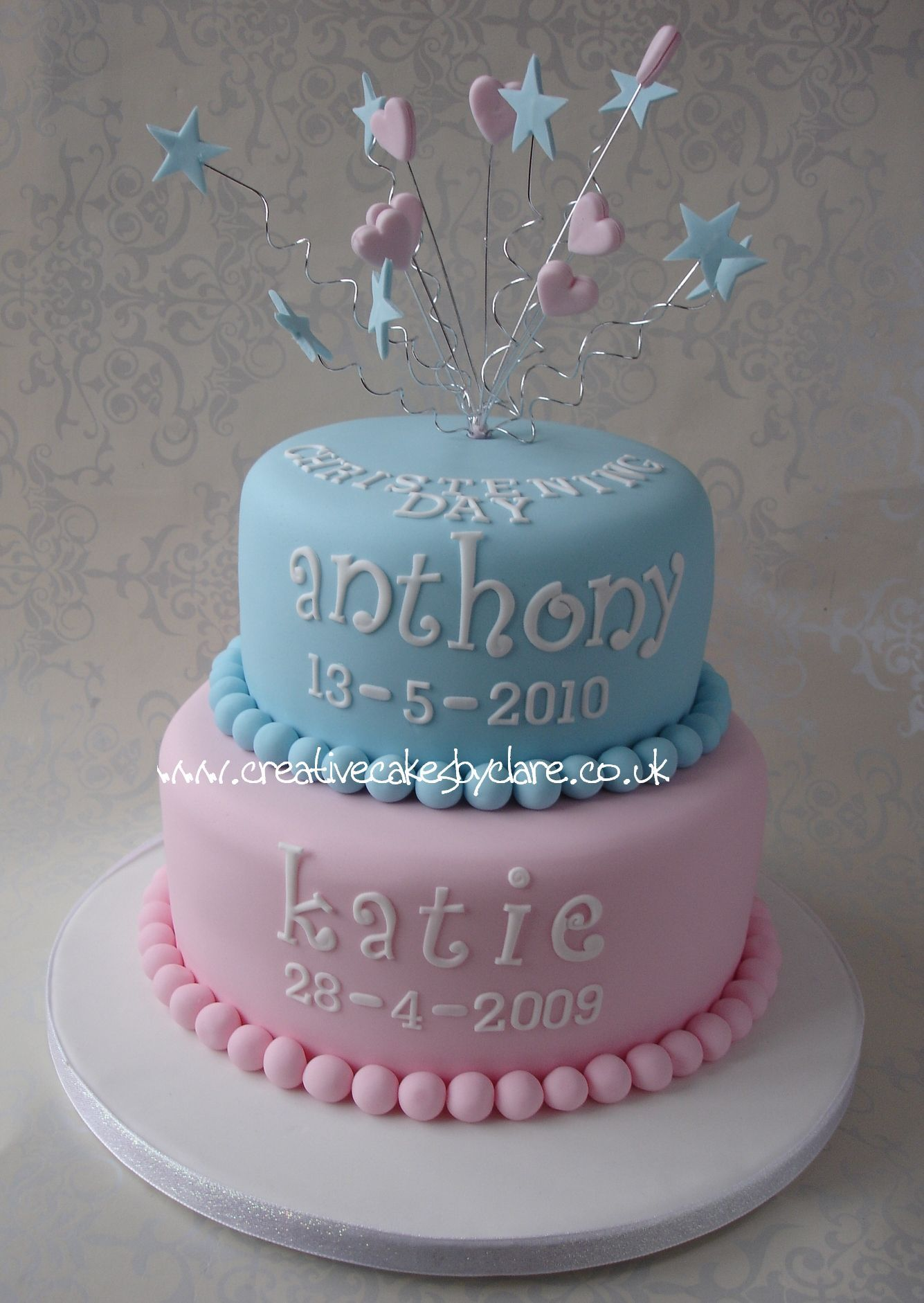 Cake Ideas For Boy And Girl : Joint Christening cakes Pinterest Christening, Blue ...