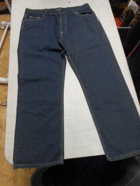 Blu Denim Men's Straight Leg Jeans, 40 X 30, Blue Denim