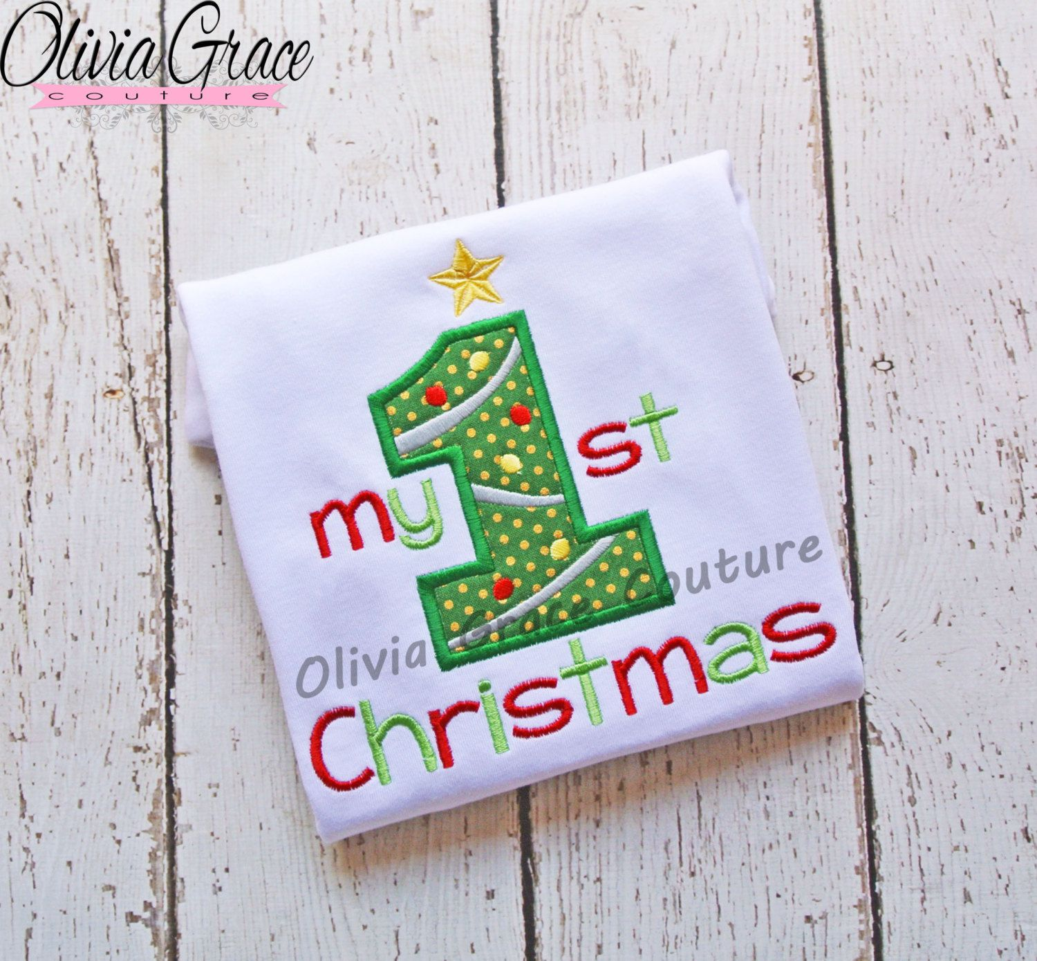My First Christmas Embroidered Applique Bodysuit or Shirt by OliviaGraceCouture on Etsy