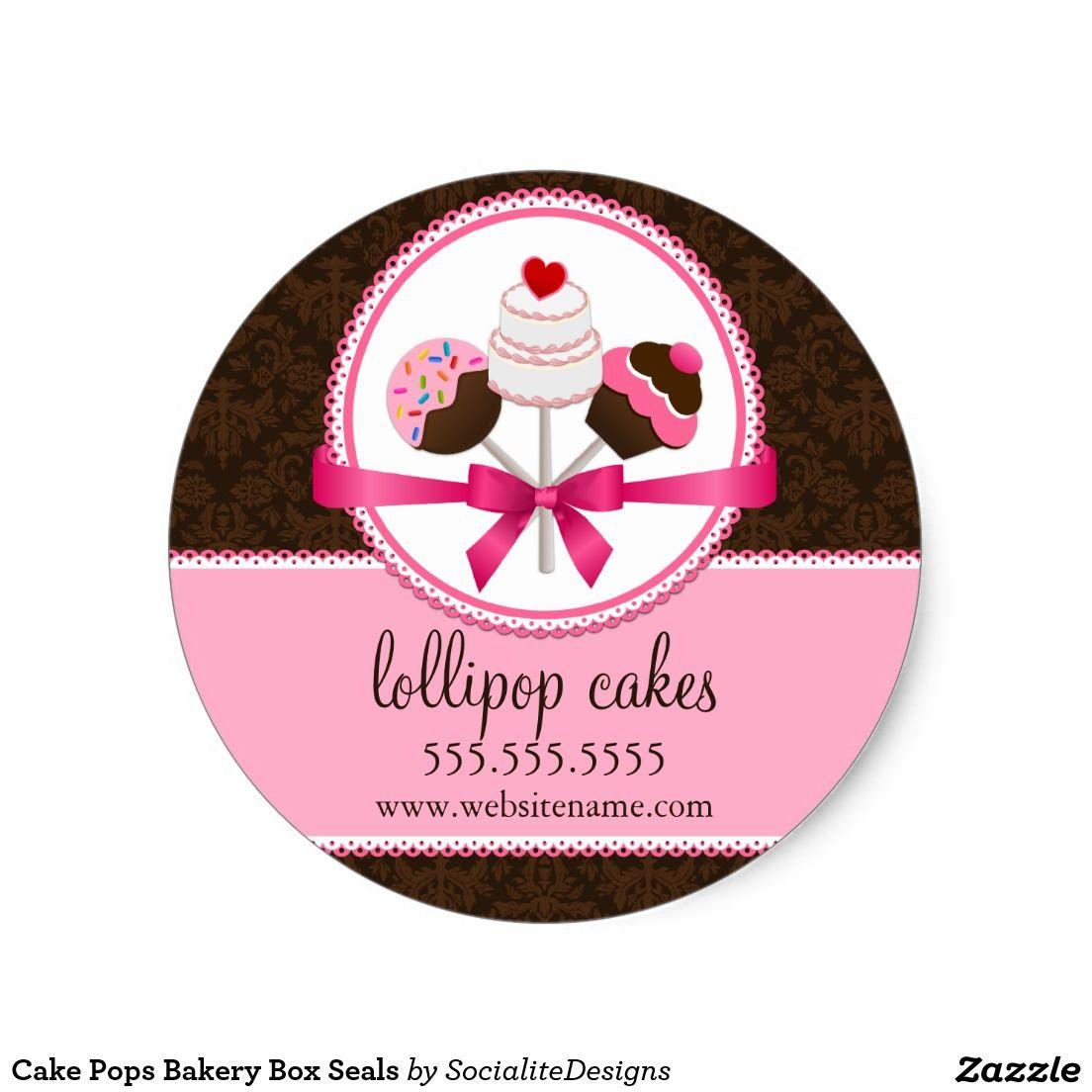 Cake pops bakery box seals bakery box