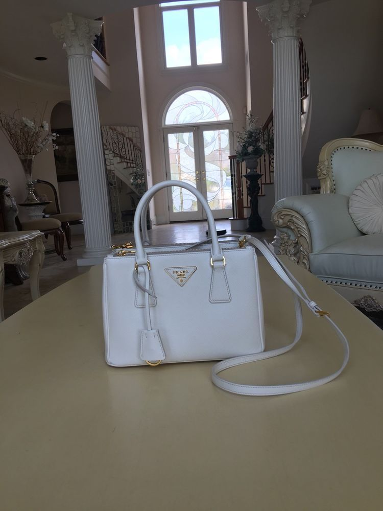 83344b982176 100% Authentic Prada Saffiano Lux Small Double Zip Satchel Tote White Gold  HW