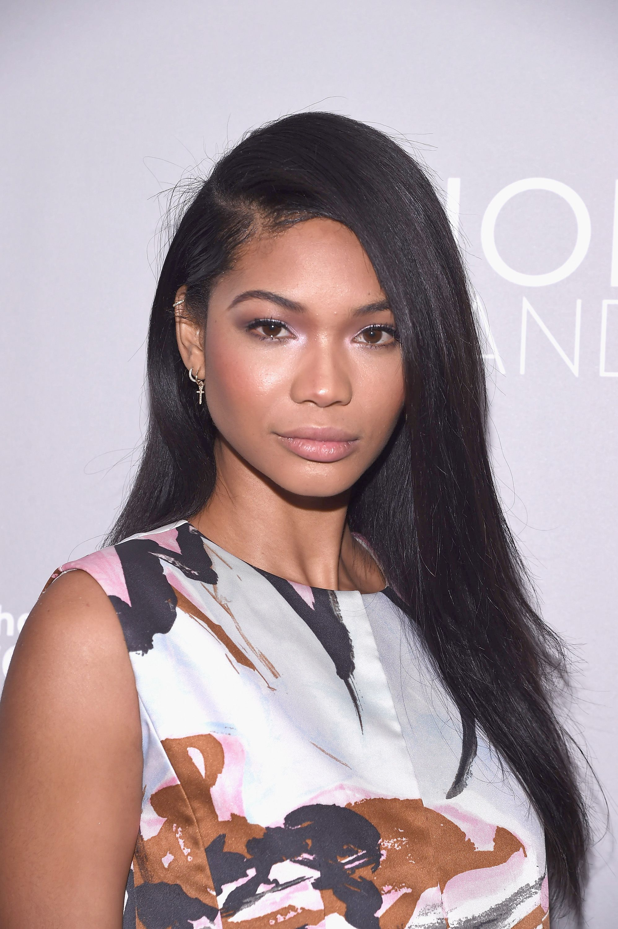 Metallic eyes & sleek hair means beauty points x a mill for Chanel Iman