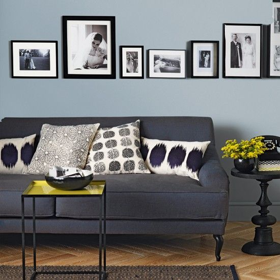 Pale Blue And Charcoal Living Room With Black And White Photos Living Room Grey Blue Grey Living Room Couches Living Room
