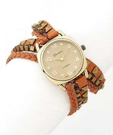 Take a look at this Gold & Brown Braided Leather Wrap Watch by Geneva Platinum on #zulily today!