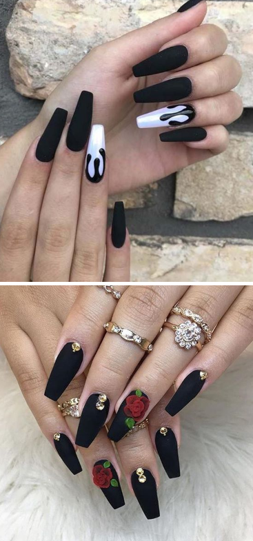 11 Matte Black Coffin Nail Ideas Trend In Cool 2019 In 2020 Edgy Nails Coffin Nails Designs Black Coffin Nails