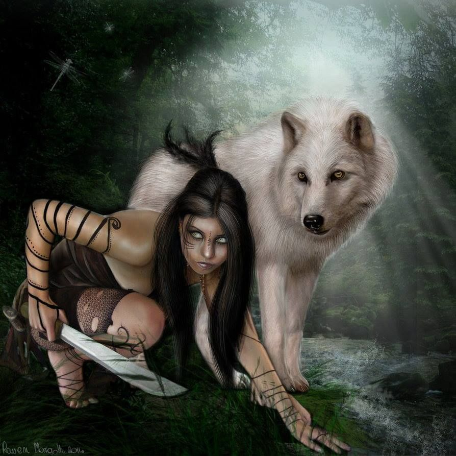 wolf-and-woman-nude