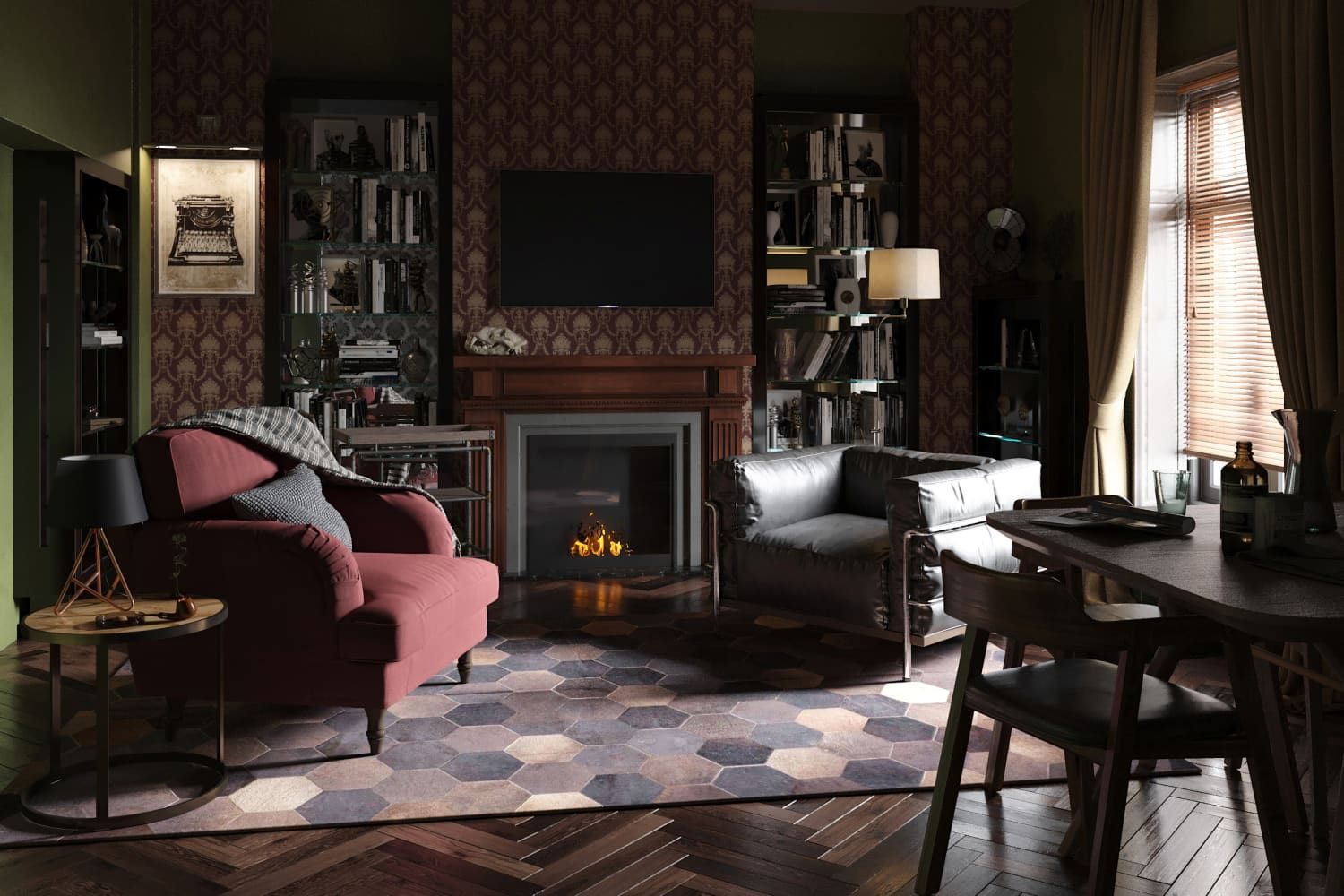 Rooms From Classic British Movies And Tv Shows Reimagined In 2020 British Movies Living Room Designs English Interior Design