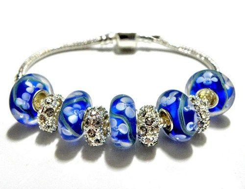 european bead Bracelet Blue charms PB826