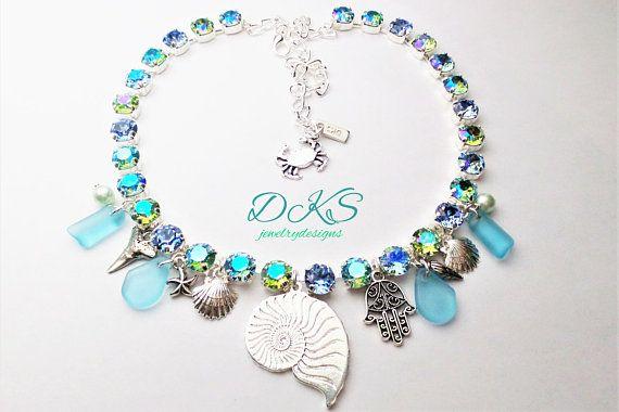 f80927942 Boardwalk Glam, Swarovski Crystal Charm Necklace, 8mm, Bridal, Ocean,  Seashell, Silver, Shimmer, DKSJewelrydesigns, FREE SHIPPING