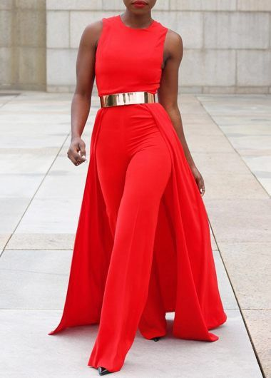 b85d7cce7ba Overlay Embellished Sleeveless Solid Red Jumpsuit from Linkshe. I like it  but can i trust them