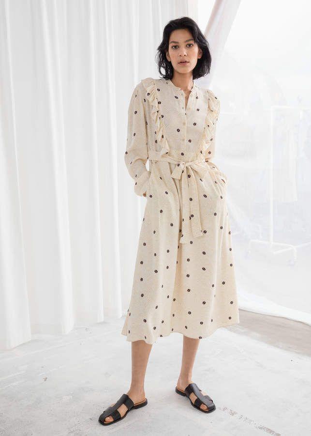 368c26ac94 And other stories Coffe Bean Ruffled Bib Midi Dress in 2019 ...