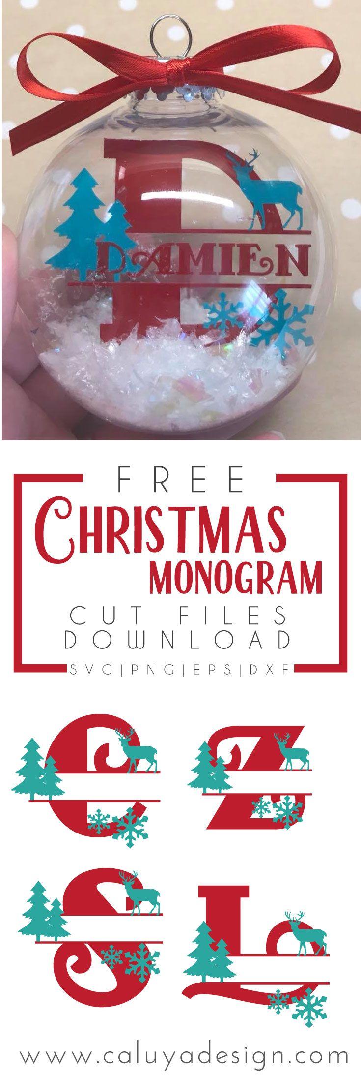 Christmas Split Monogram Free SVG, PNG, DXF, EPS Download