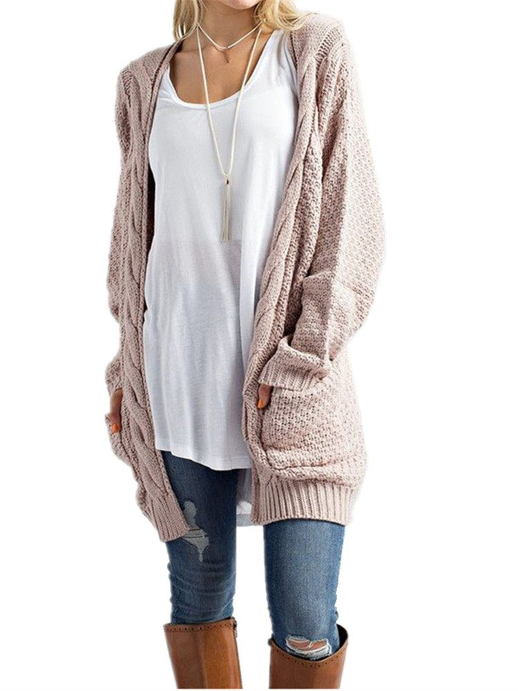 Ladies Warm Chunky Cable Knit Jumper Sweater Top Womens Long Sleeve 2 Pockets