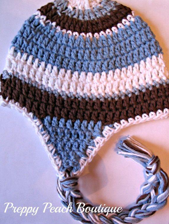 Newborn3 Months  Chocolate Brown Blue  Gray White by preppypeach, $19.95
