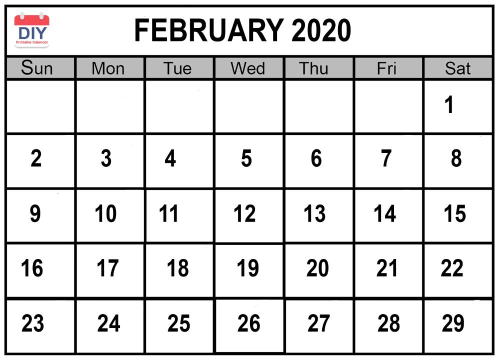 February 2020 Calendar Word Excel & PDF 12 Month