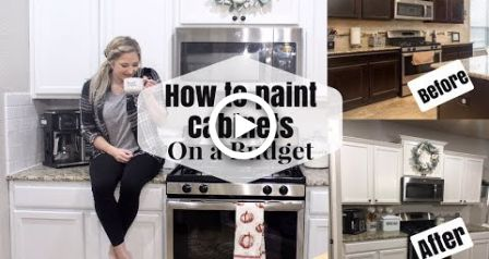 HOW TO PAINT KITCHEN CABINETS ON A BUDGET | DIY DARK TO WHITE CABINETS #darkkitchencabinets