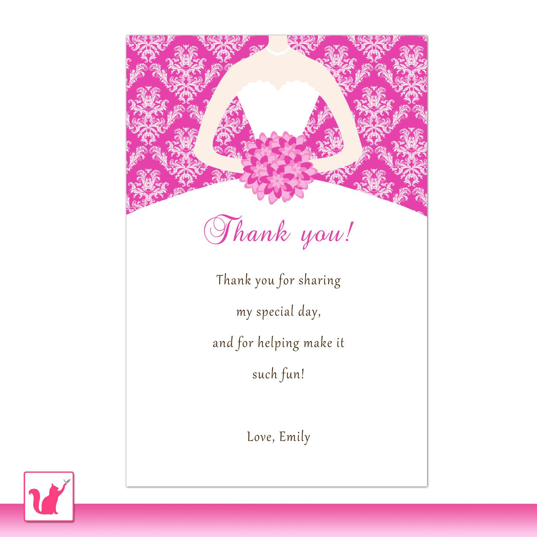 Bride dress bridal shower thank you card hot pink thank