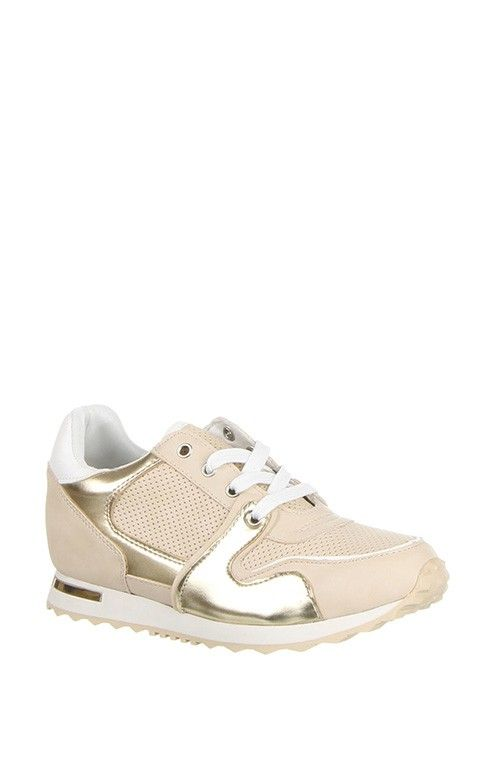 Trendy Beige Gold Trainers Sneakers