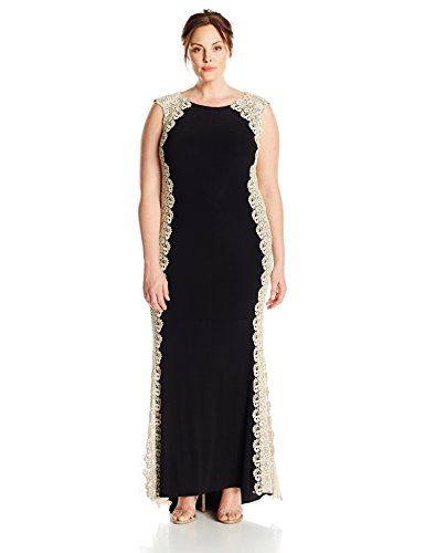 Xscape Womens PlusSize Long Ity with Lace Sides BlackGold 18W
