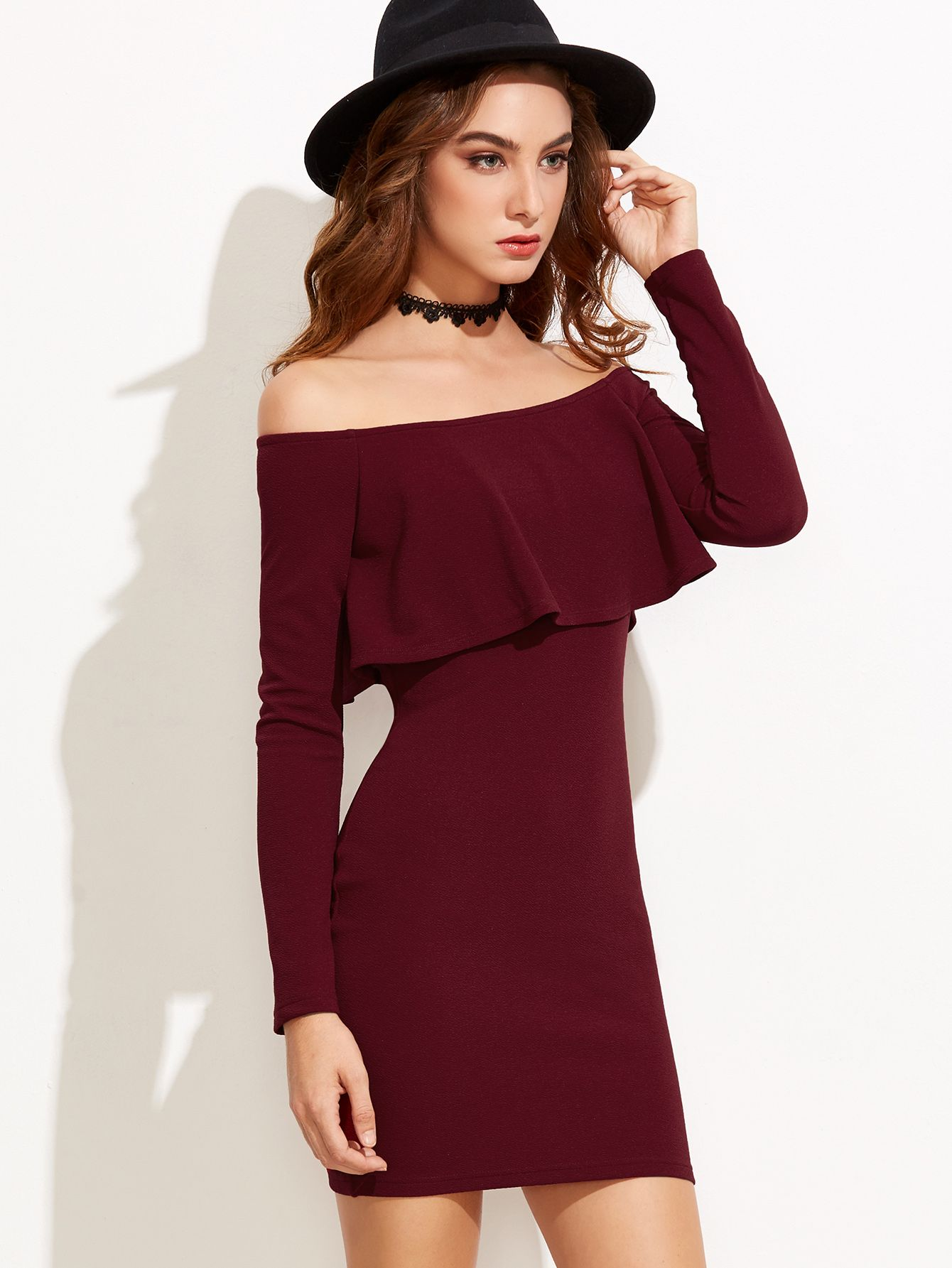 89c212740a Shop Burgundy Off The Shoulder Ruffle Bodycon Dress online. SheIn ...