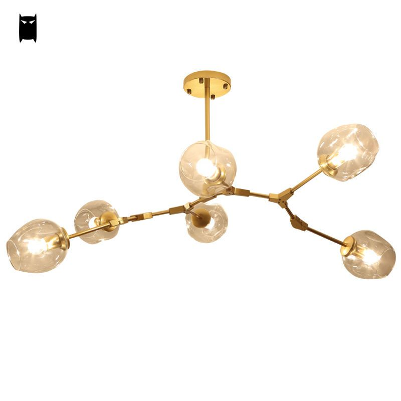 Clear Glass Bubble Gold Ceiling Light Chandelier Fixture Modern Pendant Lamp