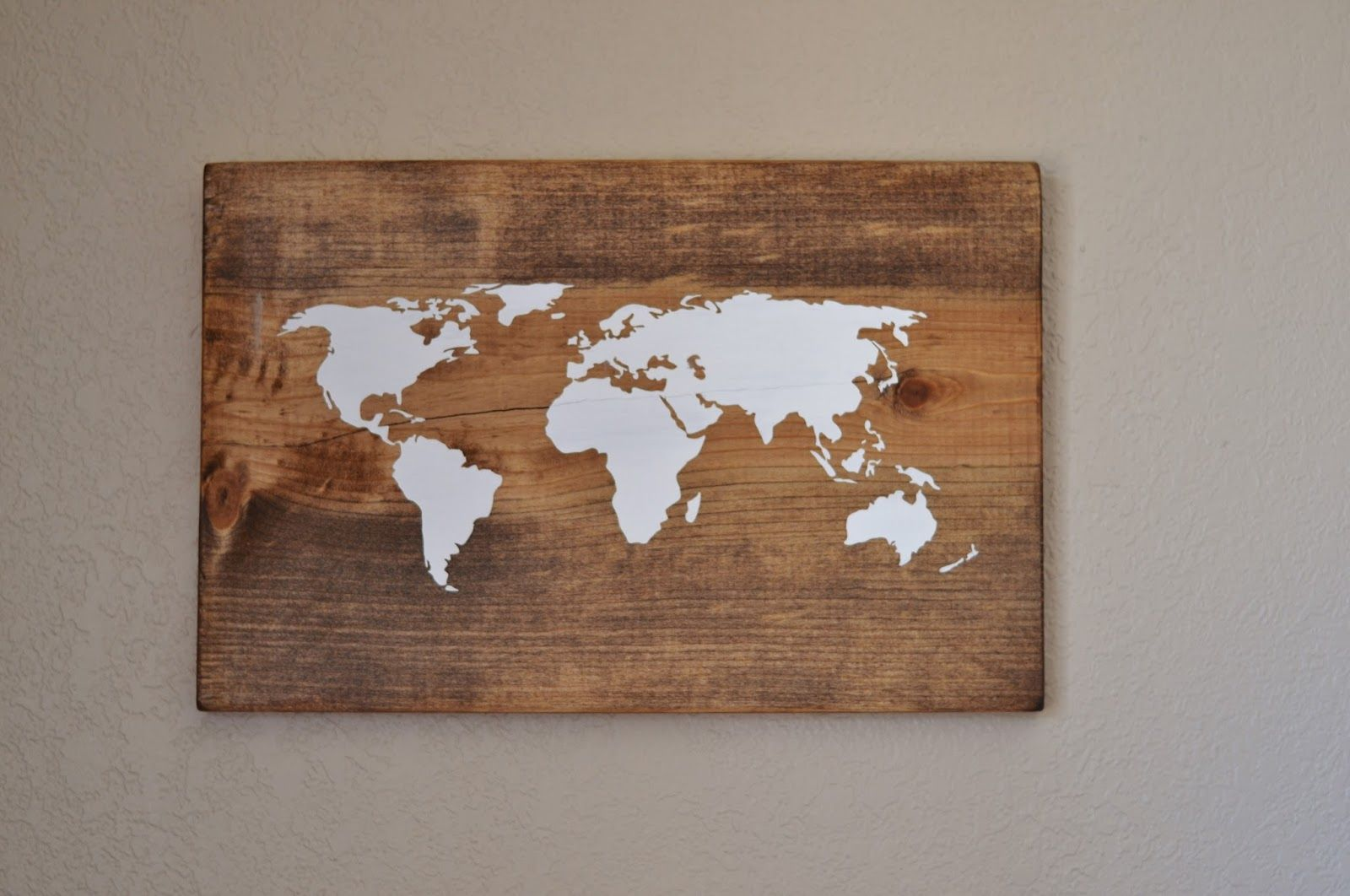 Update you can now find these in my etsy shop here i feel a to think of travel inspired decor and i really like this on the wood id do bigger dimensions all things bright and beautiful diy world map wall art gumiabroncs Image collections
